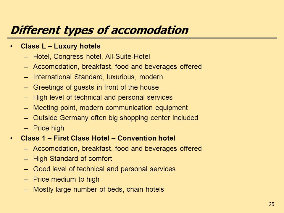 Different types of accomodation
