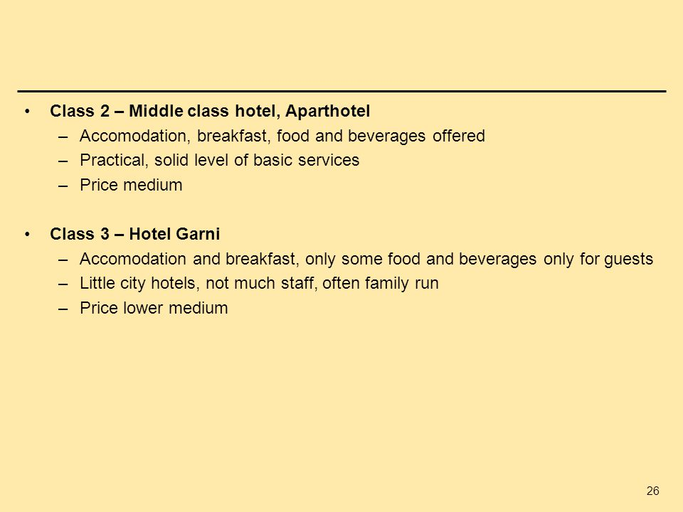 Class 2 – Middle class hotel, Aparthotel
