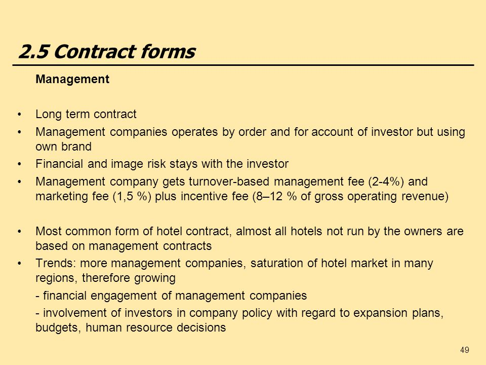 2.5 Contract forms Management Long term contract
