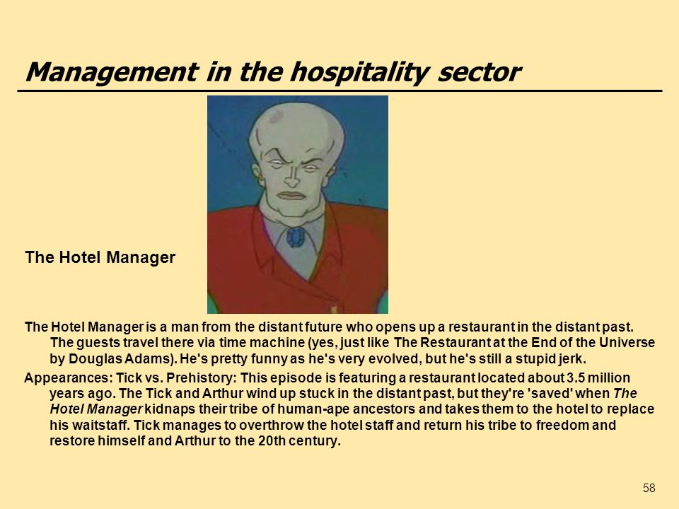 Management in the hospitality sector