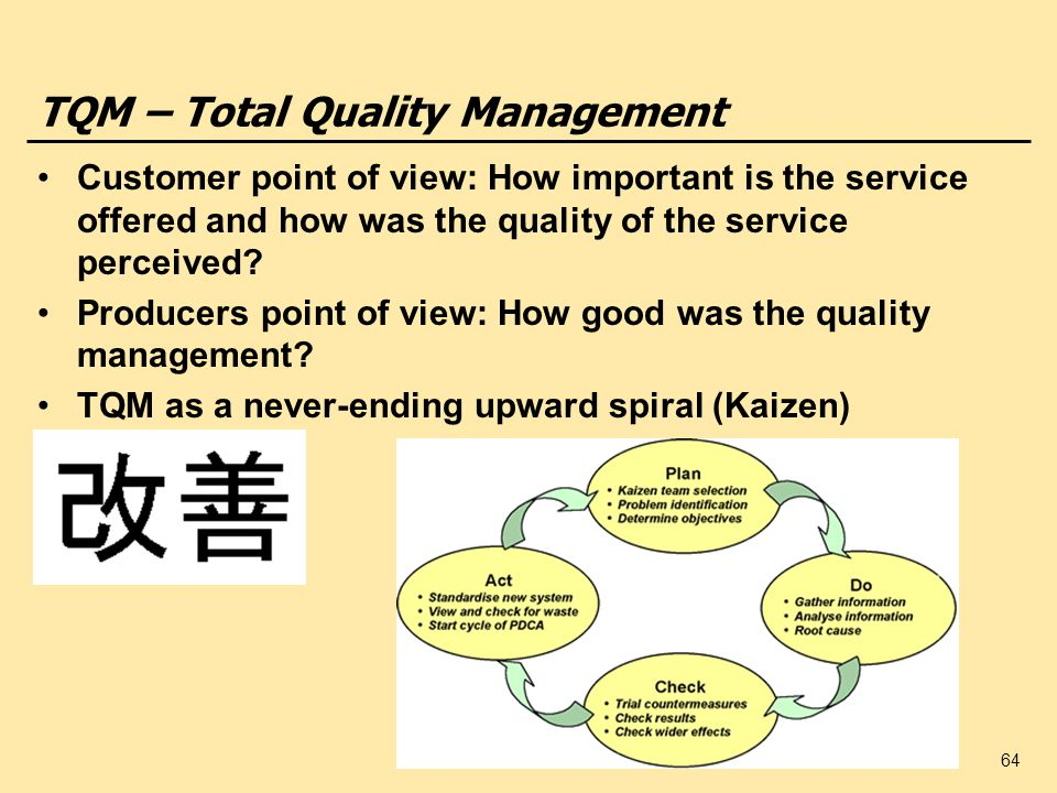 an introduction to total quality management in food service Tqm in foodservice introduction one of the most in any food service business are cleanliness quality, and service a total quality management.
