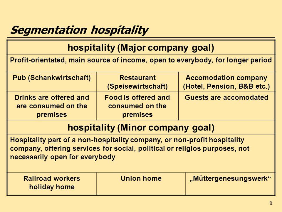 Segmentation hospitality