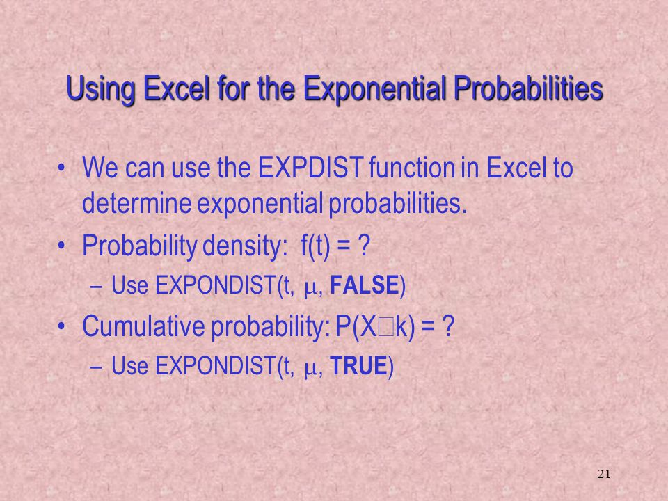 Using Excel for the Exponential Probabilities