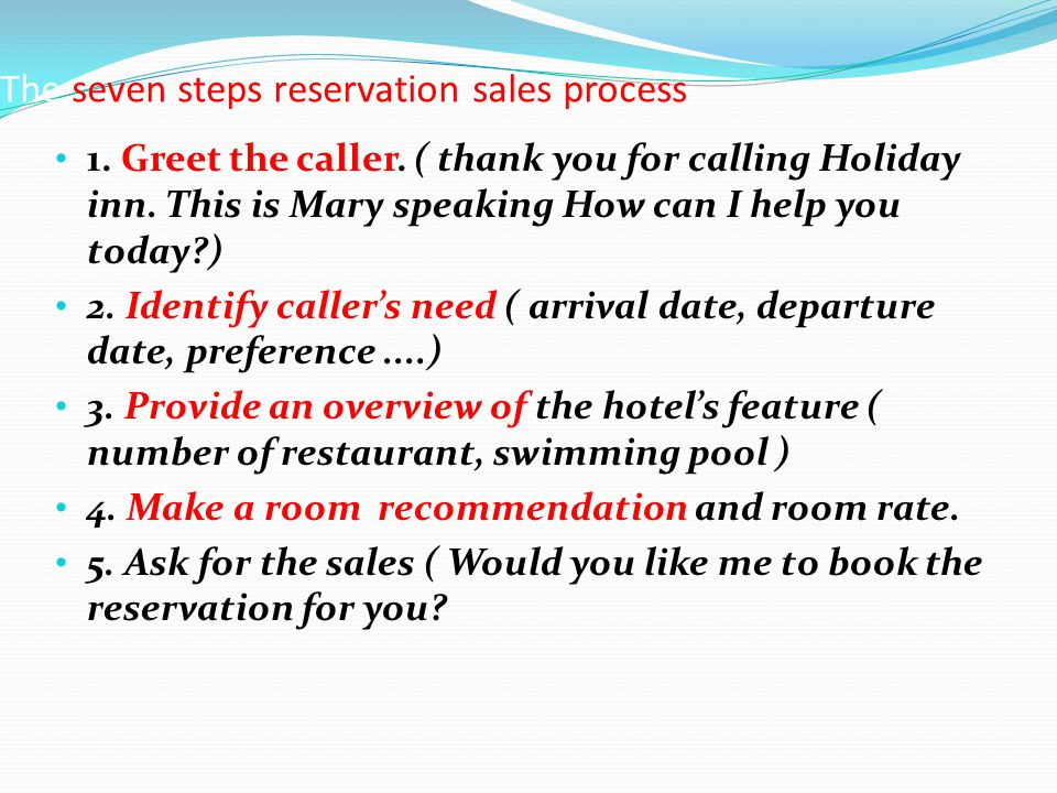 The seven steps reservation sales process