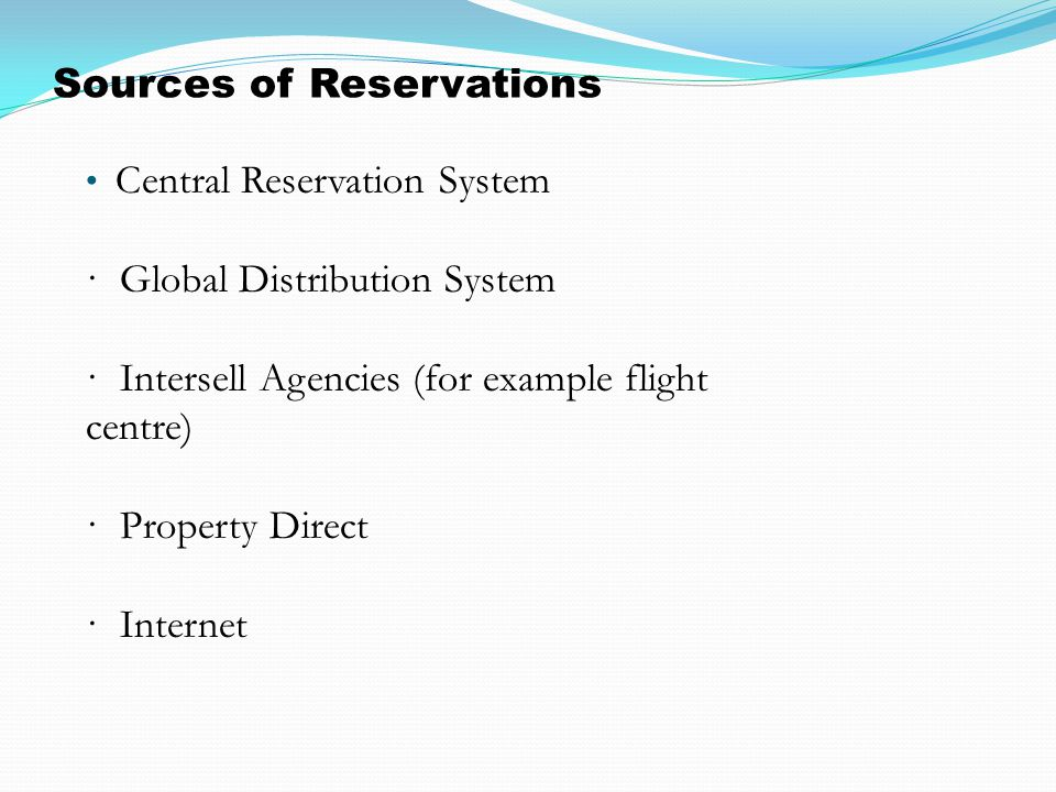 Sources of Reservations
