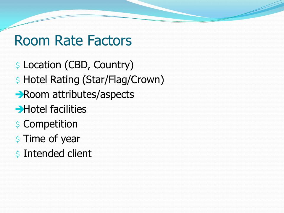 Room Rate Factors Location (CBD, Country)