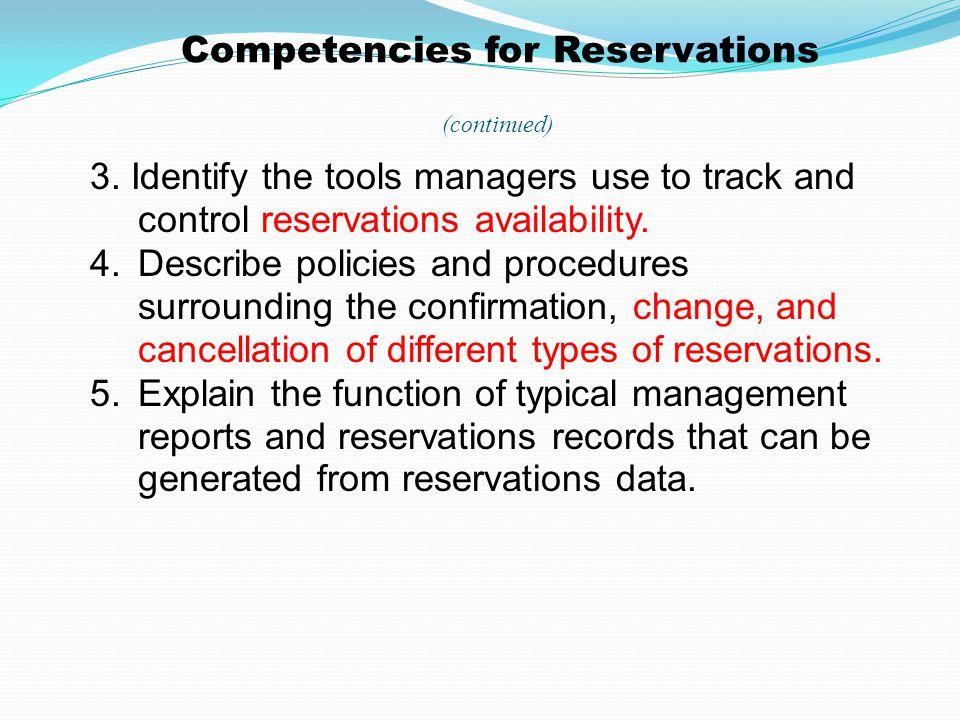 Competencies for Reservations