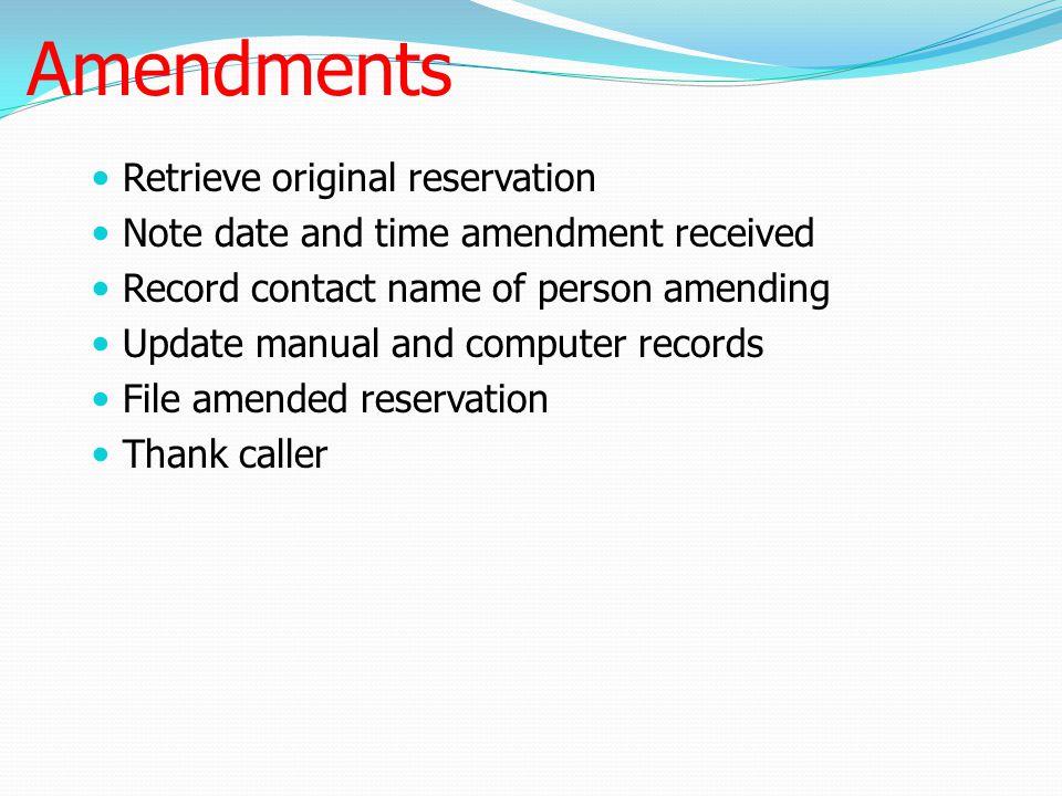 Amendments Retrieve original reservation