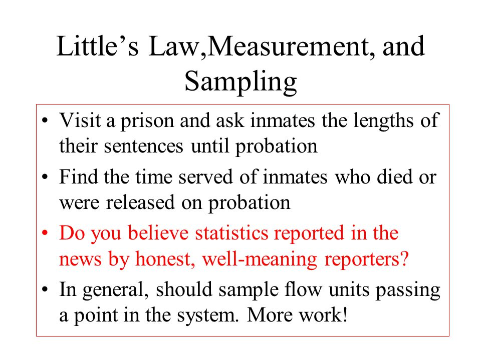 Little's Law,Measurement, and Sampling