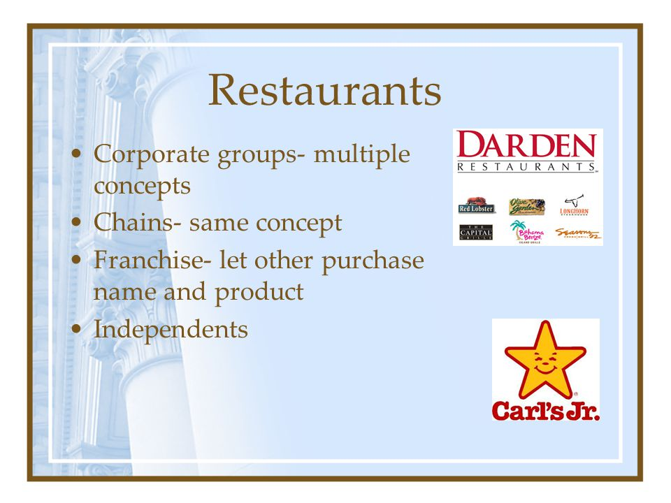 Restaurants Corporate groups- multiple concepts Chains- same concept