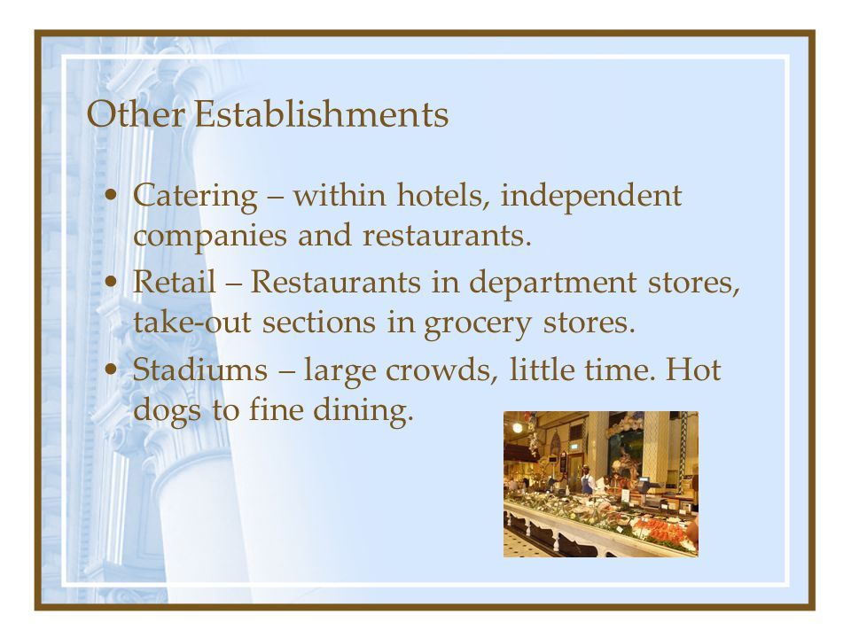 Other Establishments Catering – within hotels, independent companies and restaurants.