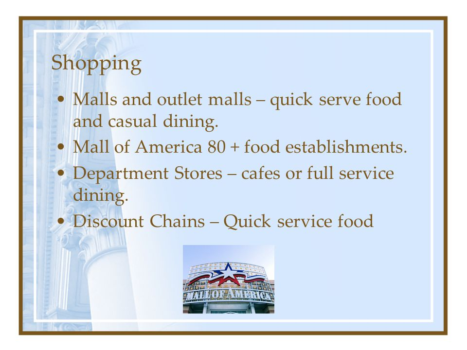 Shopping Malls and outlet malls – quick serve food and casual dining.