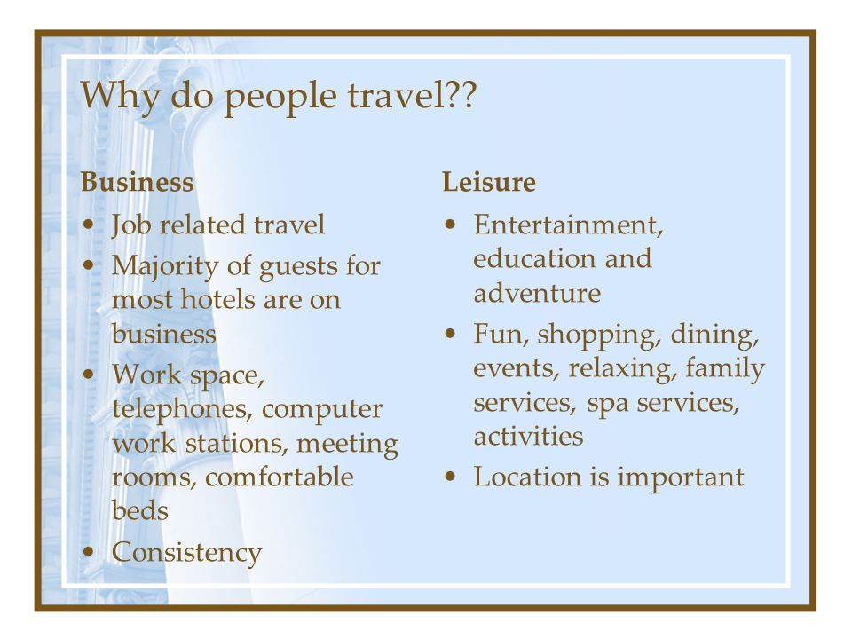 Why do people travel Business Leisure Job related travel