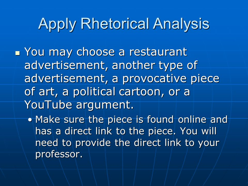 Apply Rhetorical Analysis