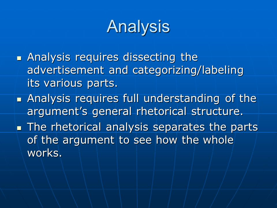 Analysis Analysis requires dissecting the advertisement and categorizing/labeling its various parts.