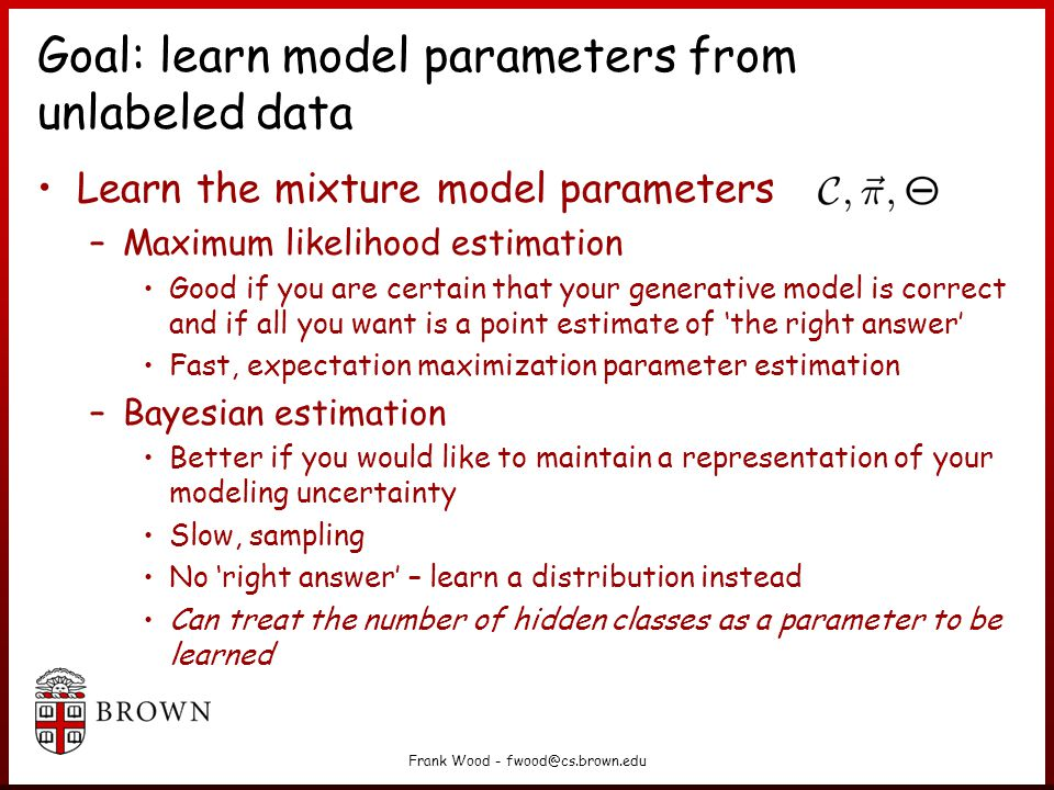 Goal: learn model parameters from unlabeled data