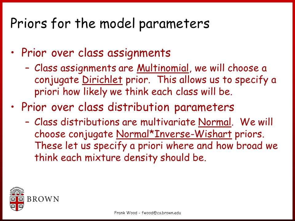 Priors for the model parameters