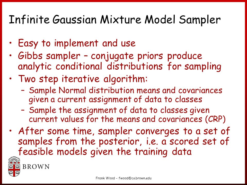 Infinite Gaussian Mixture Model Sampler