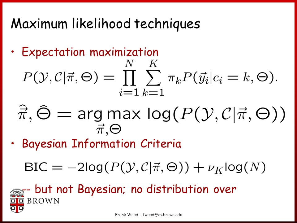 Maximum likelihood techniques