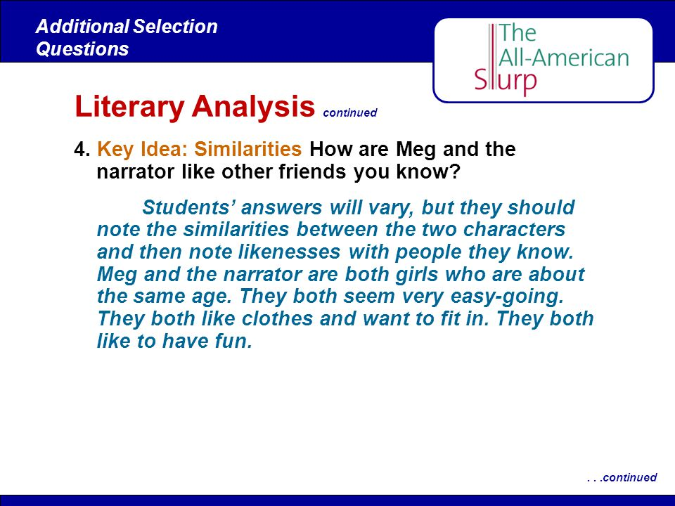 Literary Analysis continued