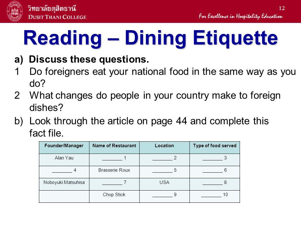 Reading – Dining Etiquette