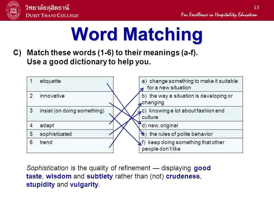 Word Matching Match these words (1-6) to their meanings (a-f).