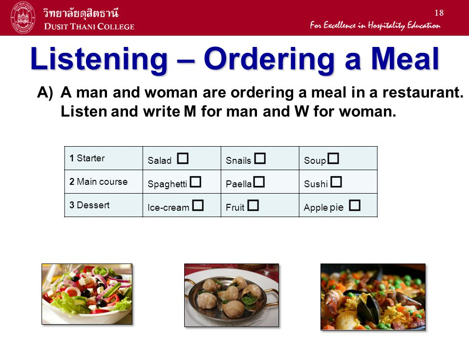 Listening – Ordering a Meal