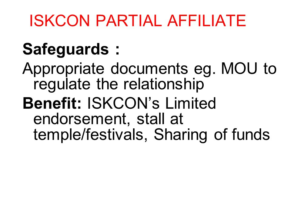 ISKCON PARTIAL AFFILIATE