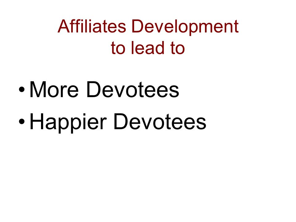 Affiliates Development to lead to