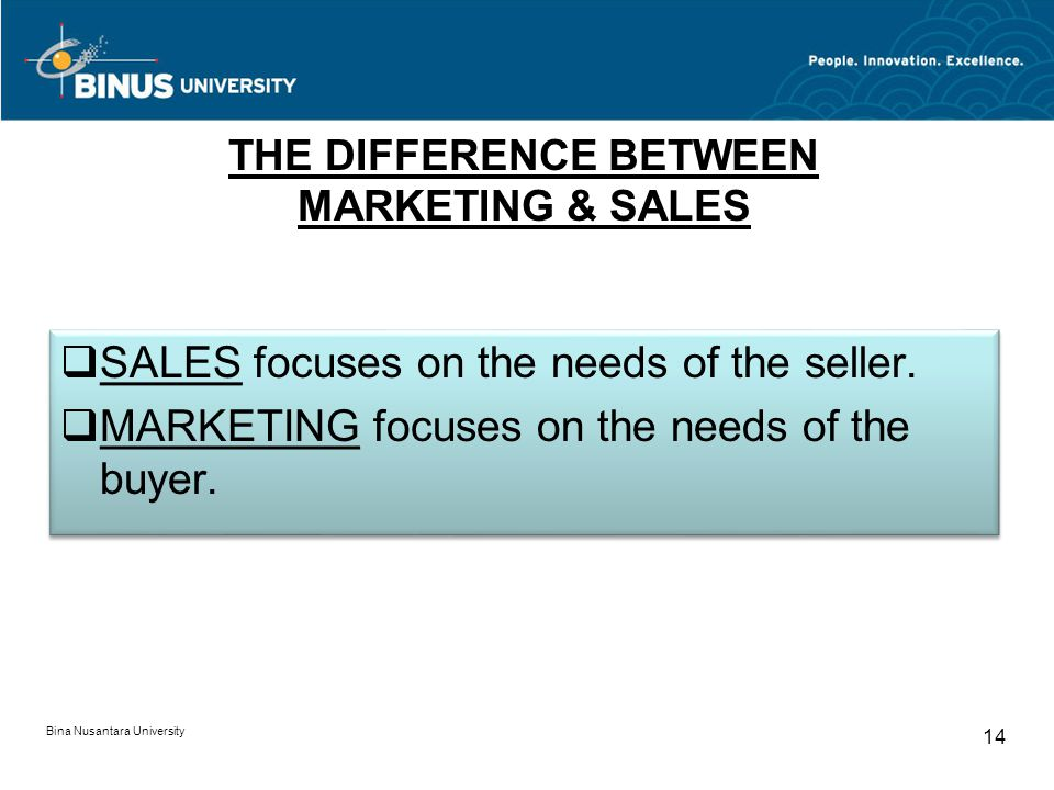 THE DIFFERENCE BETWEEN MARKETING & SALES