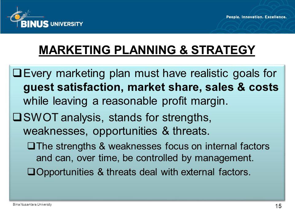MARKETING PLANNING & STRATEGY