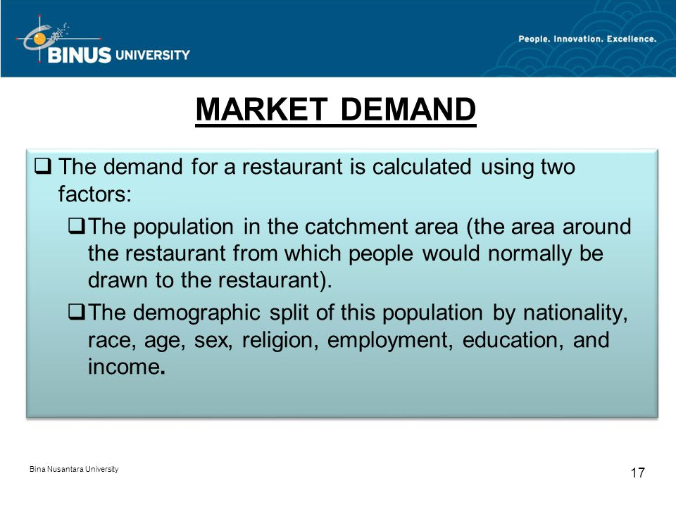 MARKET DEMAND The demand for a restaurant is calculated using two factors: