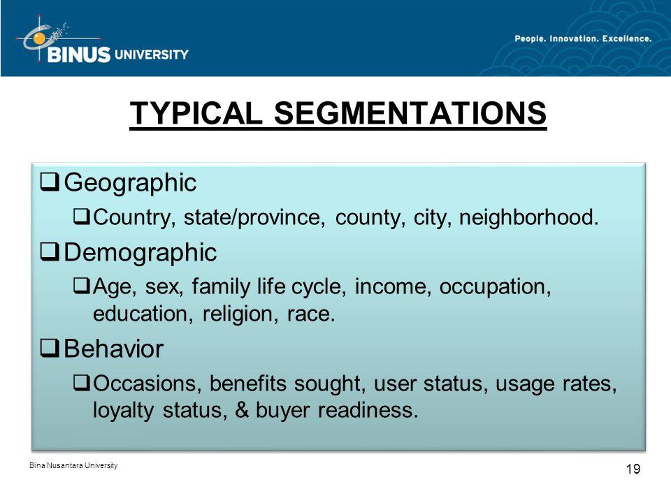 TYPICAL SEGMENTATIONS