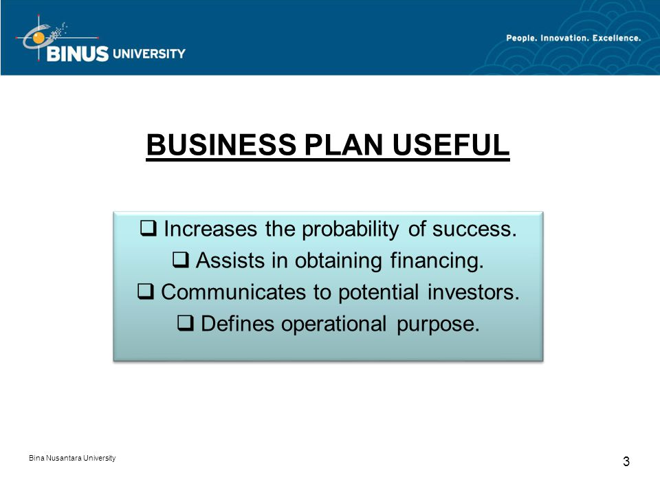 BUSINESS PLAN USEFUL Increases the probability of success.