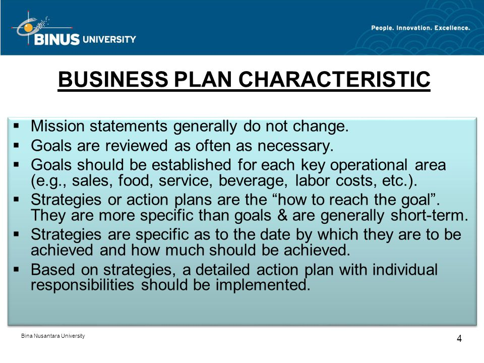 BUSINESS PLAN CHARACTERISTIC