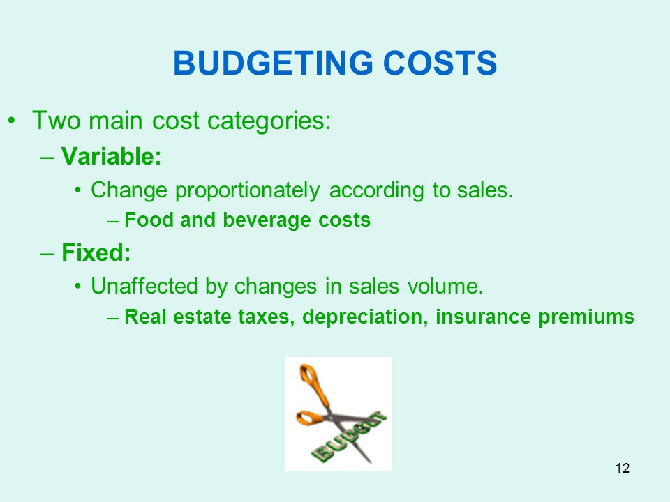 BUDGETING COSTS Two main cost categories: Variable: Fixed: