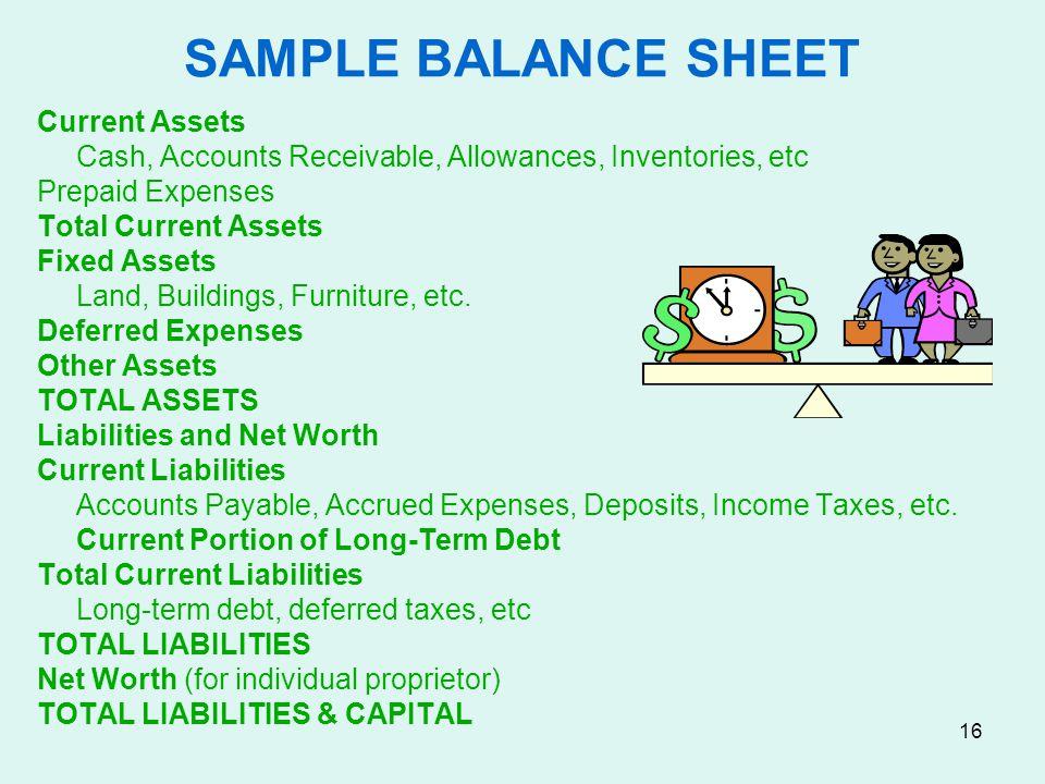 SAMPLE BALANCE SHEET Current Assets