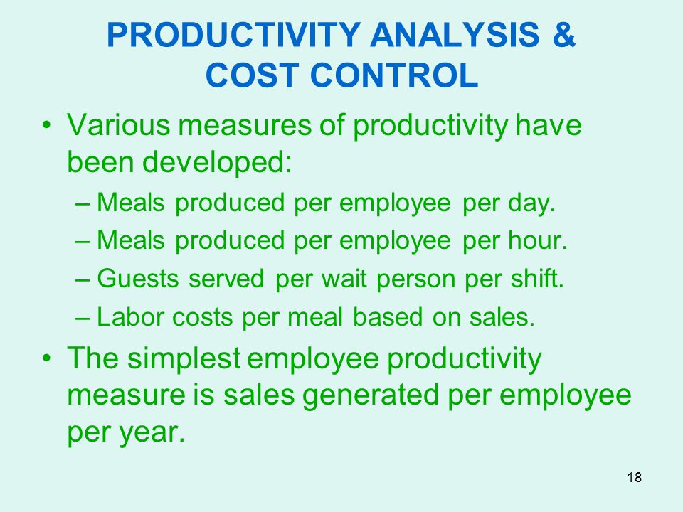 PRODUCTIVITY ANALYSIS & COST CONTROL