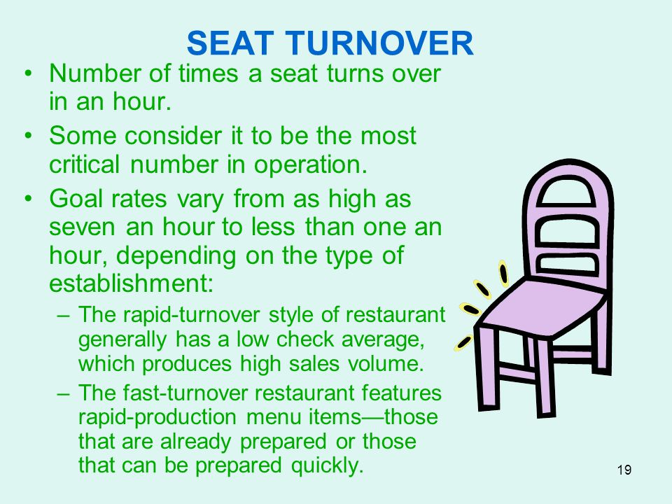 SEAT TURNOVER Number of times a seat turns over in an hour.