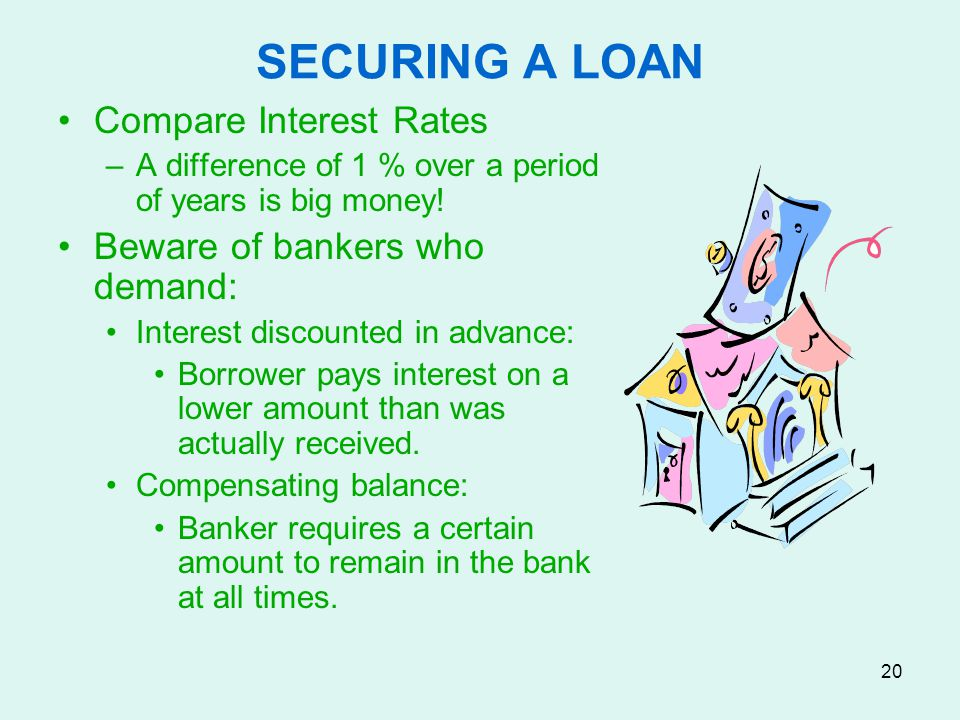 SECURING A LOAN Compare Interest Rates Beware of bankers who demand: