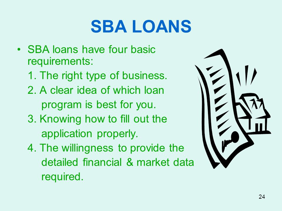 SBA LOANS SBA loans have four basic requirements: