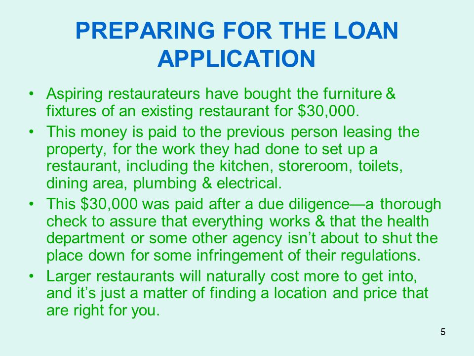 PREPARING FOR THE LOAN APPLICATION