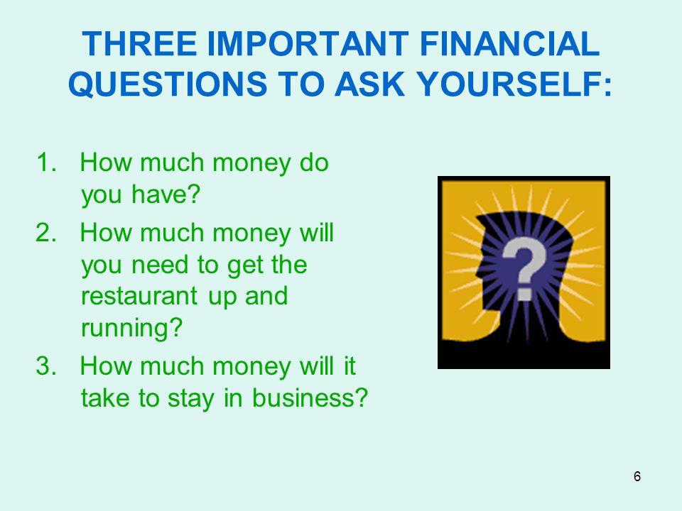 THREE IMPORTANT FINANCIAL QUESTIONS TO ASK YOURSELF: