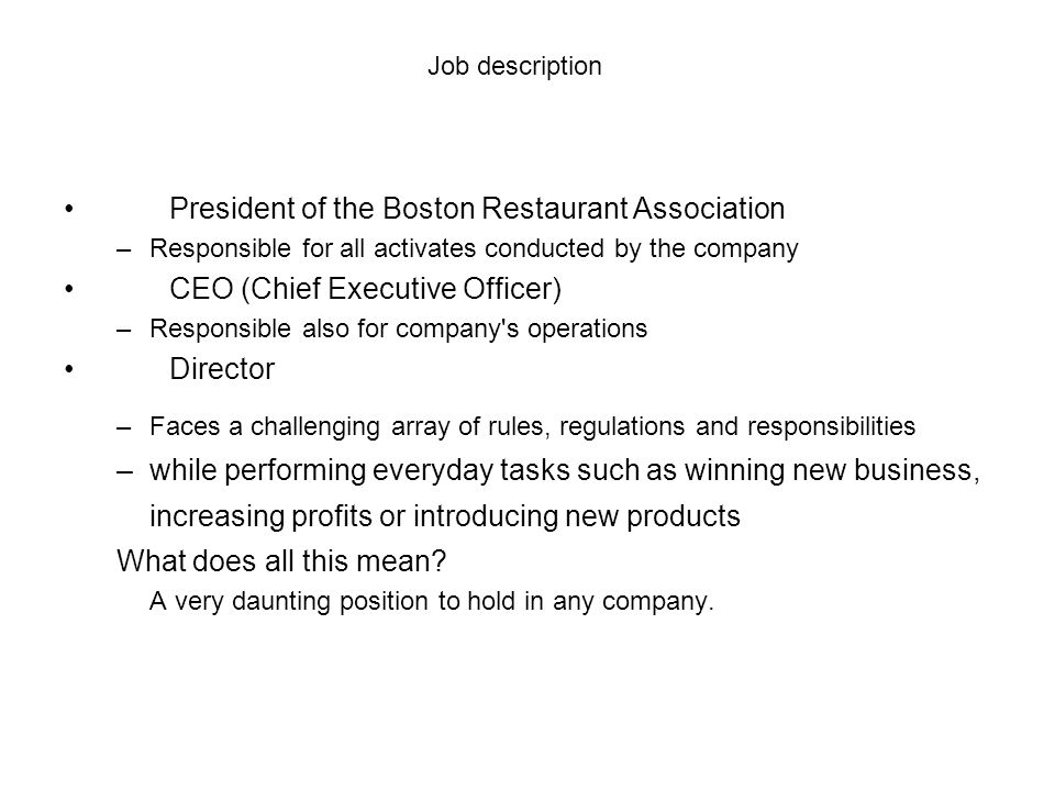 President of the Boston Restaurant Association