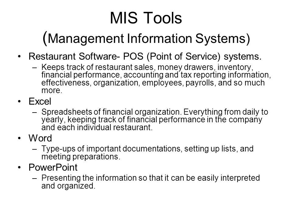 MIS Tools (Management Information Systems)