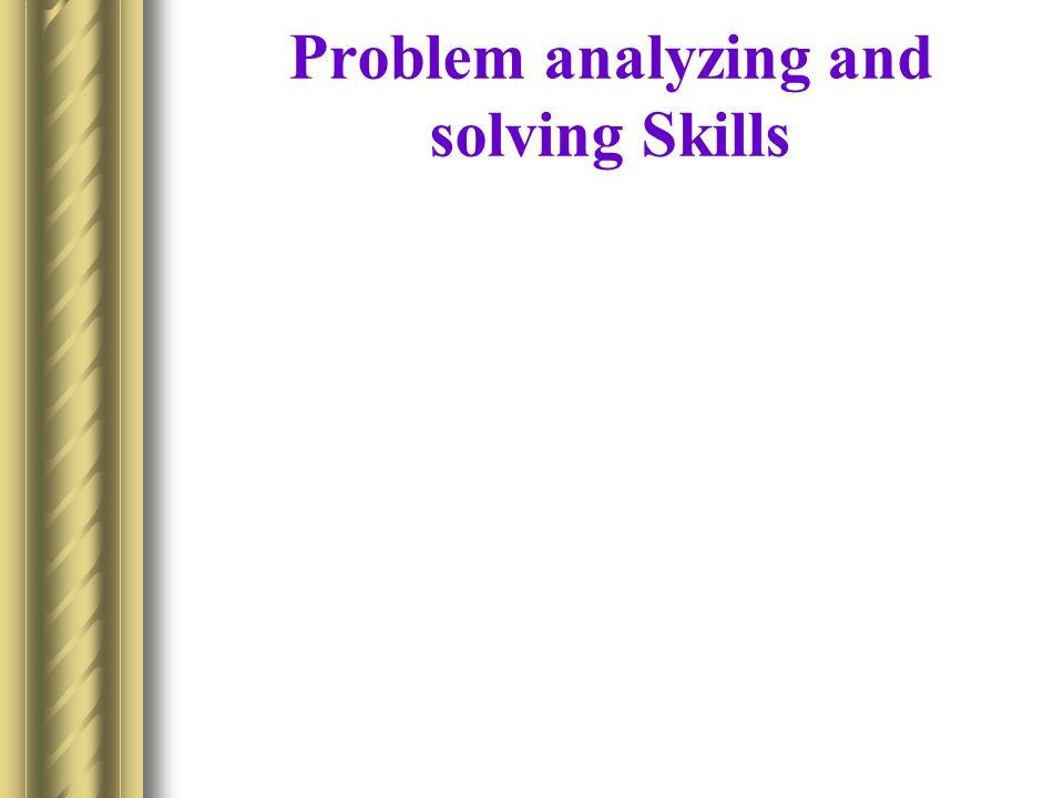 Problem analyzing and solving Skills