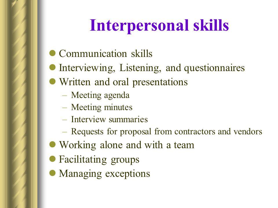 Interpersonal skills Communication skills
