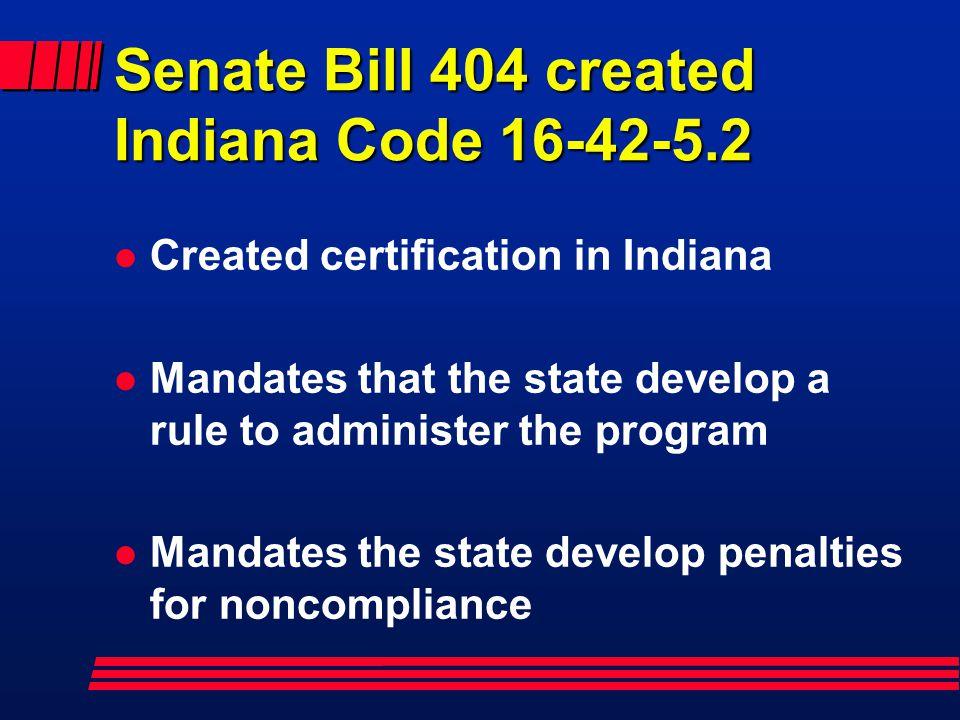 Senate Bill 404 created Indiana Code 16-42-5.2