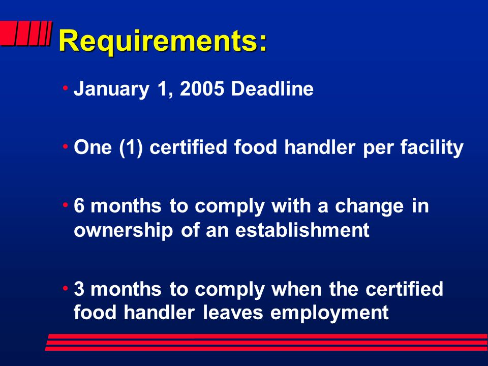 Requirements: January 1, 2005 Deadline
