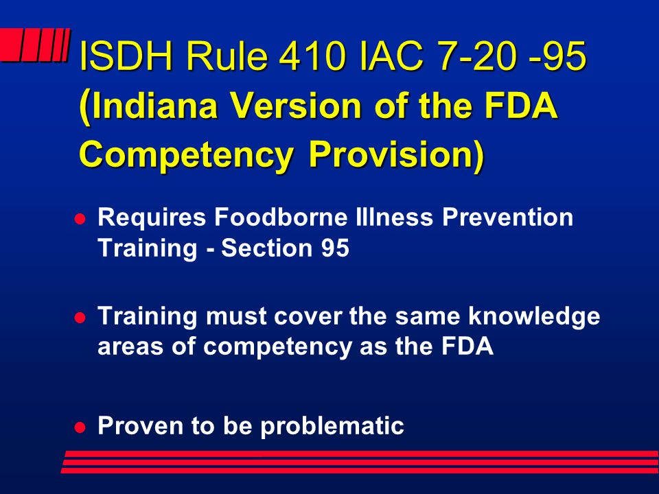 ISDH Rule 410 IAC 7-20 -95 (Indiana Version of the FDA Competency Provision)